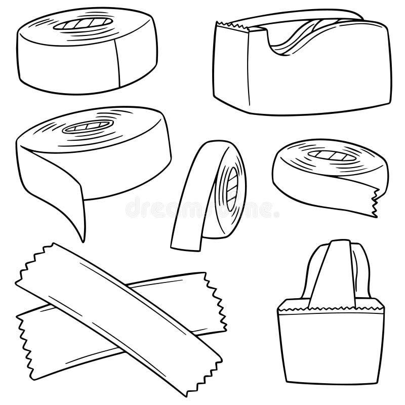 Vektoruppsättning av tejpen royaltyfri illustrationer