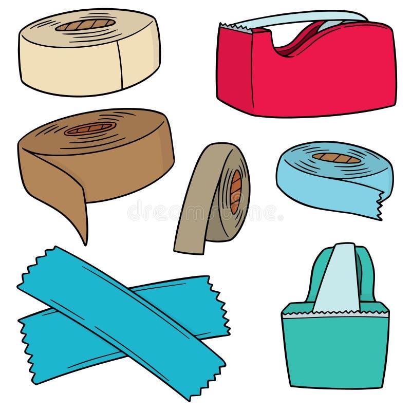 Vektoruppsättning av tejpen vektor illustrationer