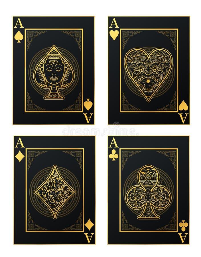 Vektoruppsättning av thai tradition som spelar kortet och symbolen stock illustrationer