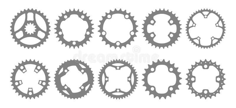 Vektoruppsättning av tio chainring konturer för cykel stock illustrationer