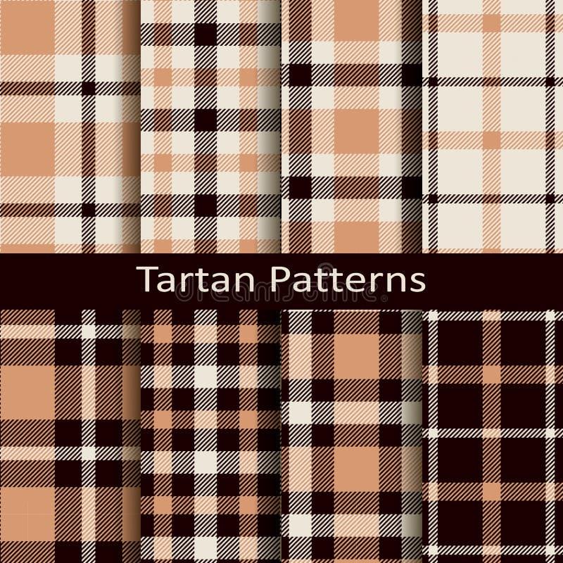 Vektoruppsättning av tio sömlösa traditionella bruna tartanmodeller vektor illustrationer