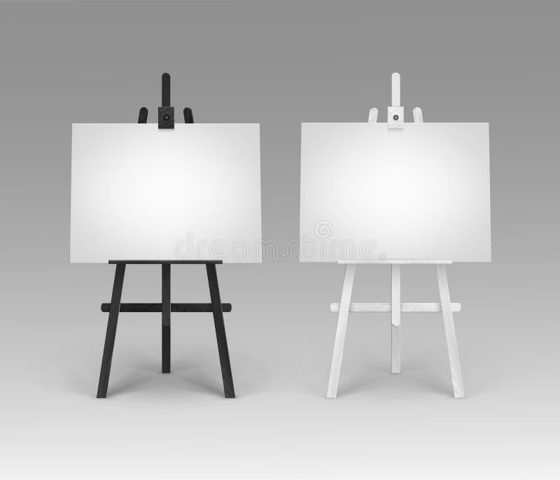 Vektoruppsättning av träsvarta vita staffli med åtlöje upp isolerade tomma tomma horisontalkanfaser vektor illustrationer