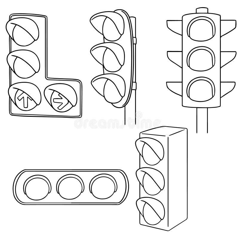 Vektoruppsättning av trafikljus stock illustrationer