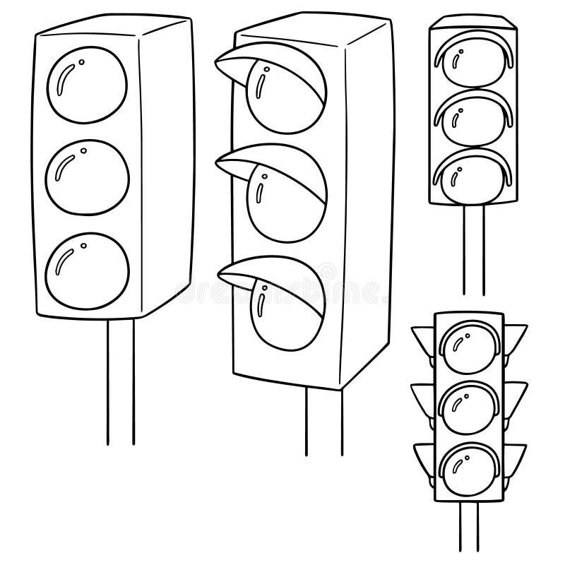 Vektoruppsättning av trafikljus royaltyfri illustrationer