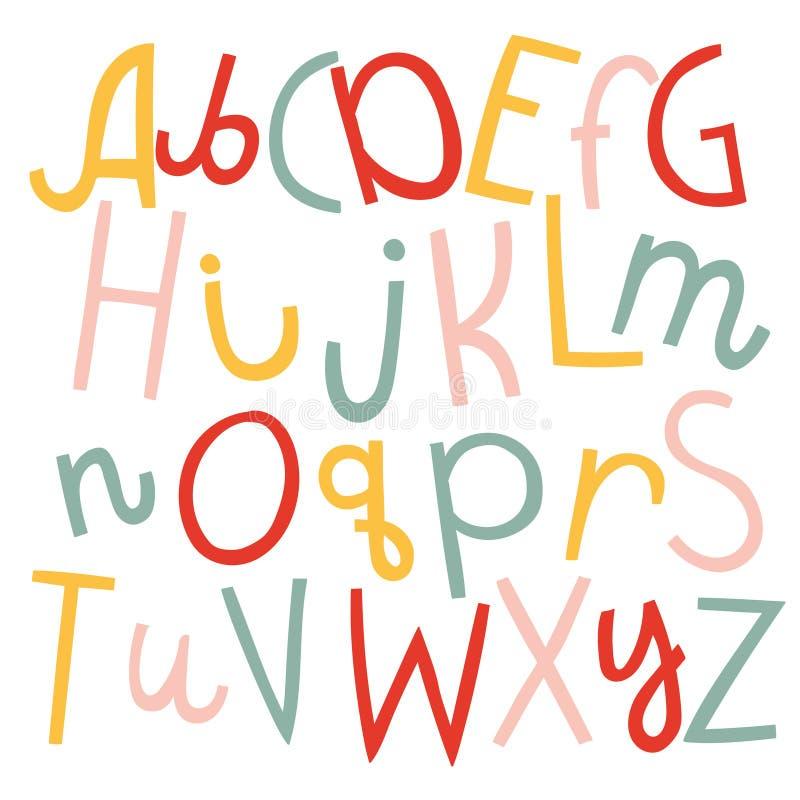 Vektoruppsättning av tre alfabet för rolig skillnad för tecknad film engelska stock illustrationer