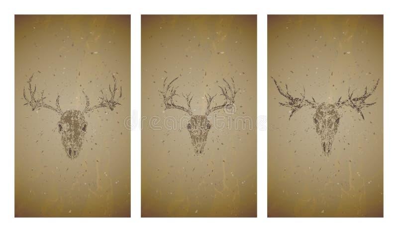 Vektoruppsättning av tre illustrationer med grungekonturskallar hjortar och älg på gammal texturbakgrund Tappning skissar i sepia vektor illustrationer