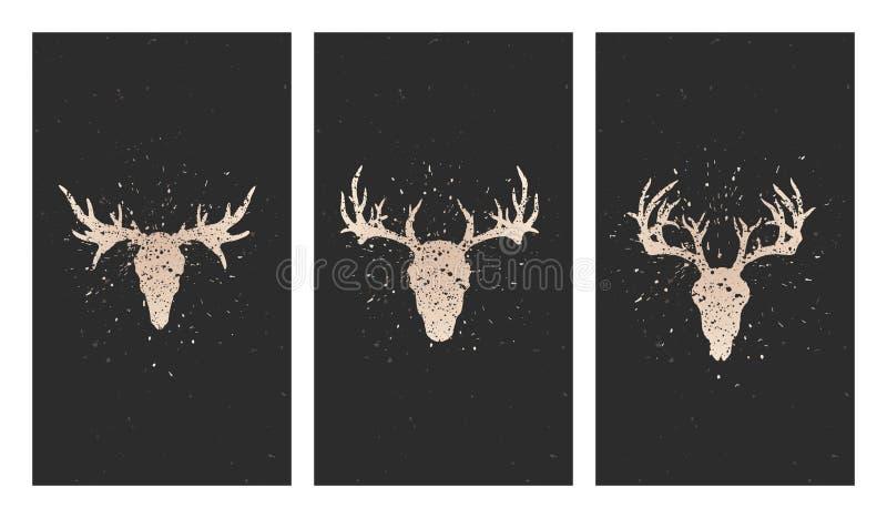 Vektoruppsättning av tre illustrationer med guld- konturskallar hjortar, älg och grungebeståndsdelar på svart bakgrund royaltyfri illustrationer