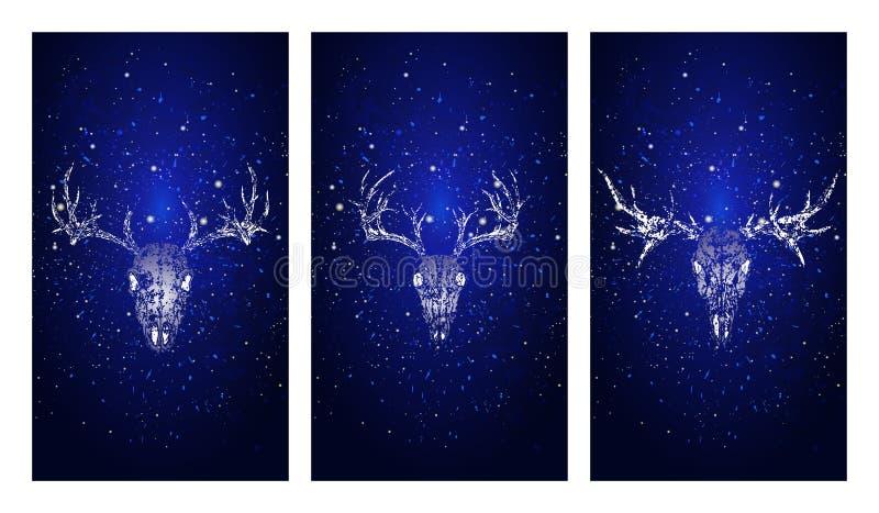 Vektoruppsättning av tre illustrationer med konturskallar hjortar och älg på blå stjärnklar himmelbakgrund vektor illustrationer