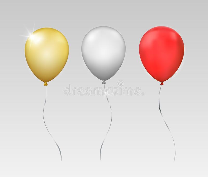 Vektoruppsättning av tre skinande realistiska ballonger som isoleras på grå bakgrund vektor illustrationer