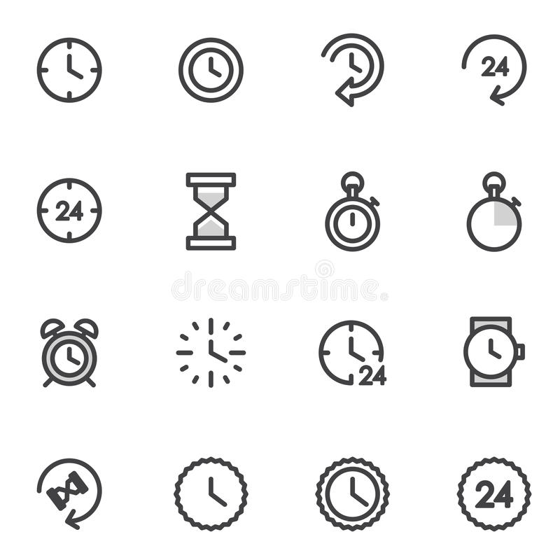 Vektoruppsättning av utlinesymboler som indikerar tiden, ledningimer, ringklocka stock illustrationer