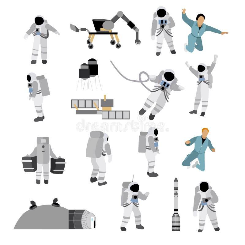 Vektoruppsättning av utrymmesymboler i plan stil på vit bakgrund Astronaut dräkt, månestation, raket, rover vektor illustrationer
