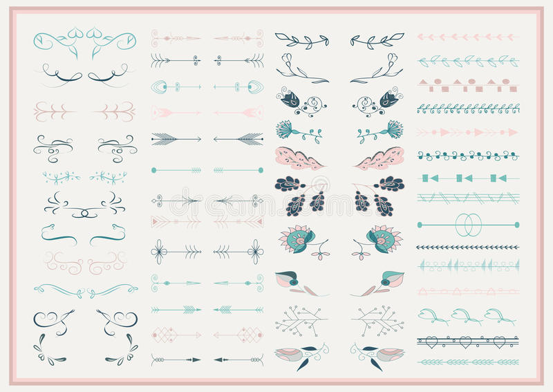 Vektoruppsättning av utsmyckade ramar och snirkelbeståndsdelar royaltyfri illustrationer