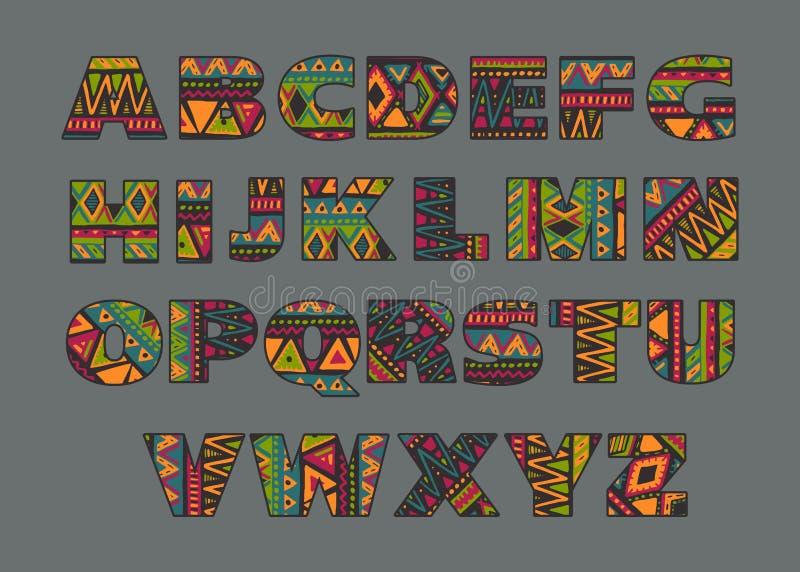 Vektoruppsättning av utsmyckade versalar med abstrakta etniska modeller royaltyfri illustrationer