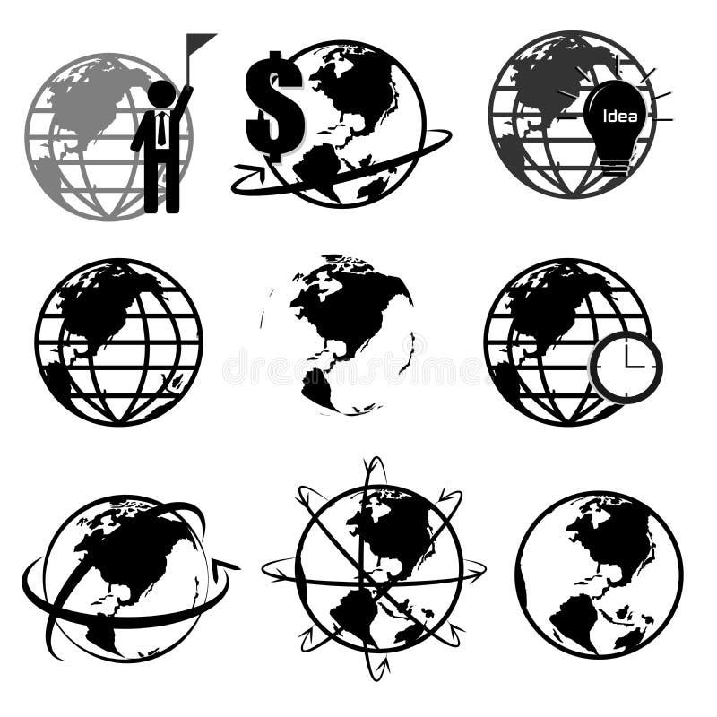 Vektoruppsättning av världskartan 3D eller jordklotet, serie 2 stock illustrationer