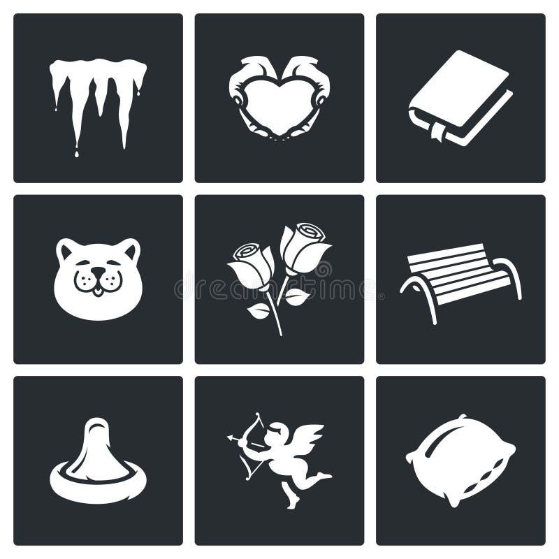 Vektoruppsättning av vårdatummärkningsymboler royaltyfri illustrationer