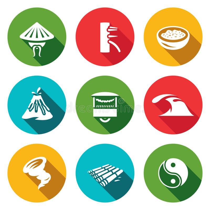 Vektoruppsättning av Vietnam symboler Vietnames Wing Chun Kung Fu, mat, natur, handel, hav, orkan, flotte, Yin Yan stock illustrationer