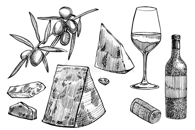 Vektoruppsättning av vinrankaprodukter illustrationen skissar in stil design tecknad elementhand bakgrund isolerad white stock illustrationer