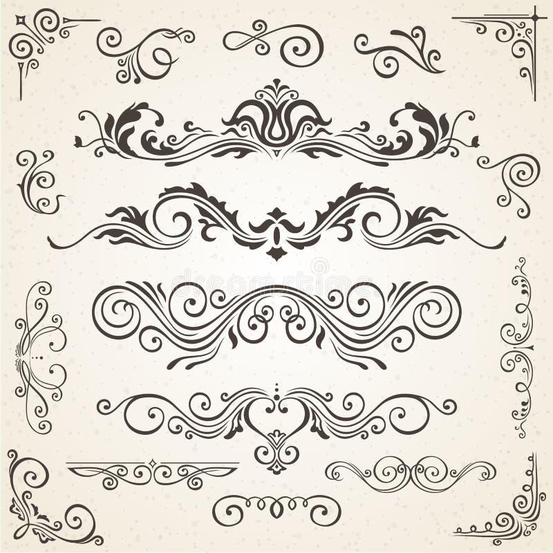 Vektoruppsättning av virvelbeståndsdelar och hörn för design Calligraphic sidagarnering, etiketter, baner, barockramar vektor illustrationer