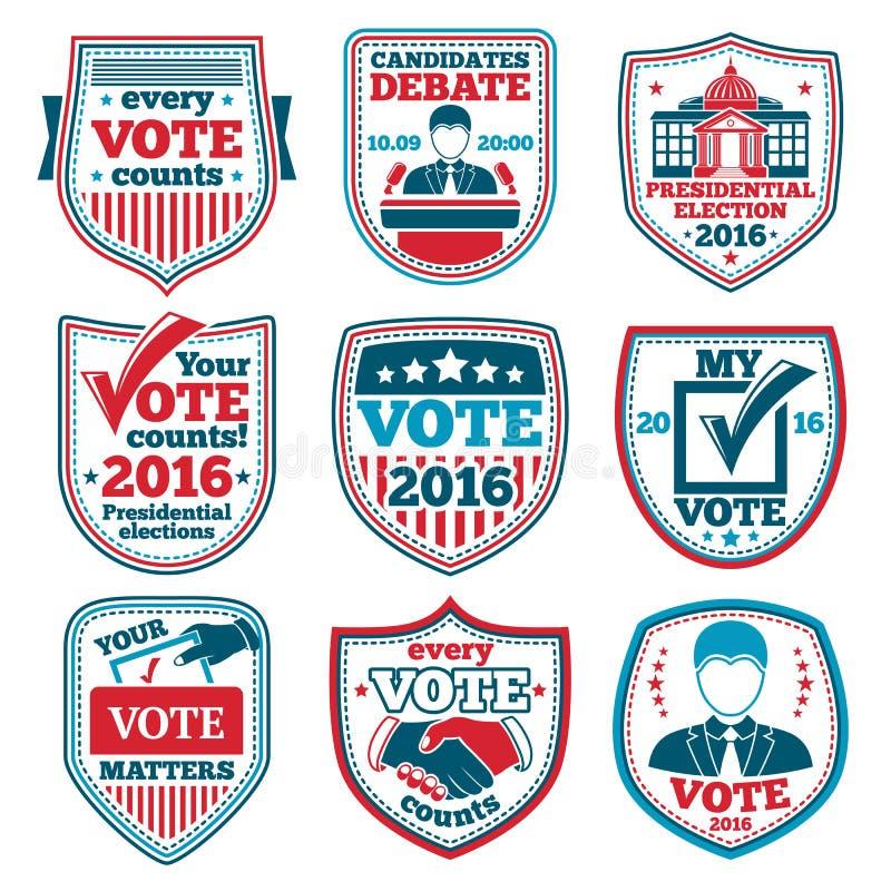 Vektoruppsättning av Vote etiketter och emblem för val, debatter etc. royaltyfri illustrationer