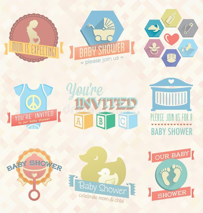 Vektoruppsättning: Baby showerinbjudanetiketter och symbol royaltyfri illustrationer