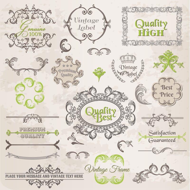 Vektoruppsättning: Calligraphic designbeståndsdelar och sidagarnering vektor illustrationer