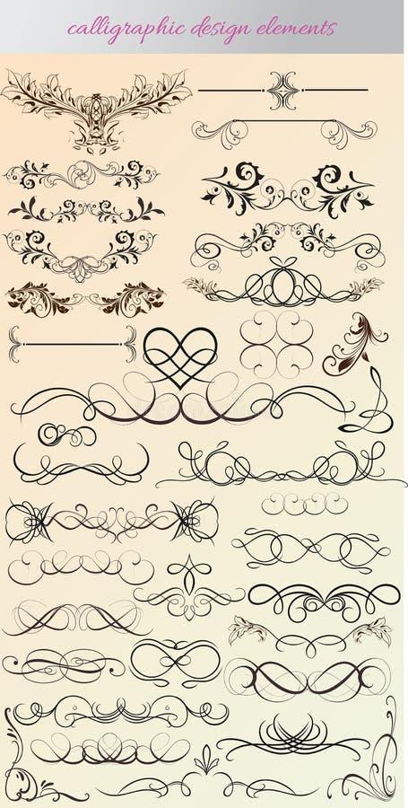Vektoruppsättning: calligraphic designbeståndsdelar och sidagarnering - l vektor illustrationer