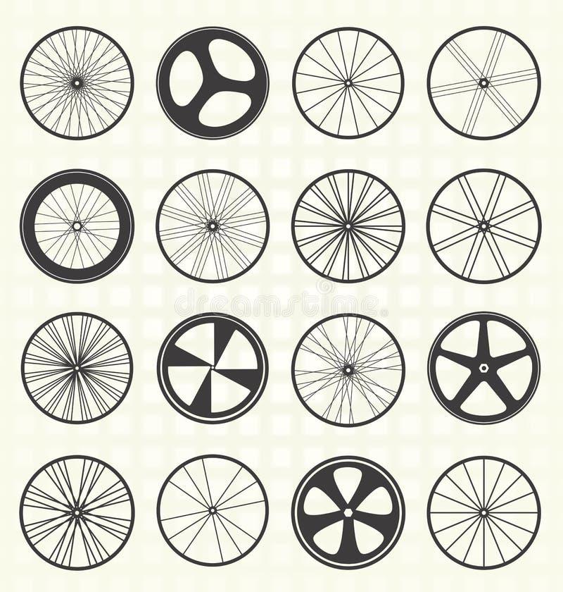 Vektoruppsättning: Cykelhjulkonturer stock illustrationer