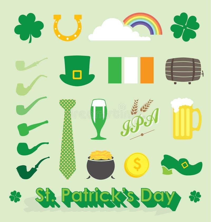 Vektoruppsättning: Dagsymboler och symboler för St. Patricks vektor illustrationer