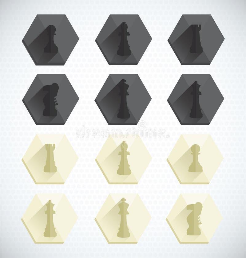 Vektoruppsättning: Dimensionella symboler för schackstycke vektor illustrationer