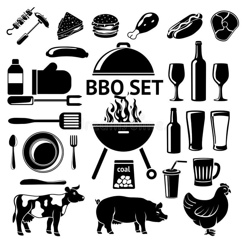Vektoruppsättning för BBQ-parti Grilla, drinkar, instrument, kötttyper etc. royaltyfri illustrationer
