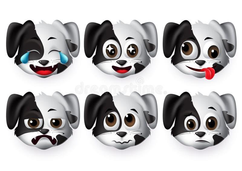 Vektoruppsättning för Emojis-hundar Hundar med hundkänslohuvud med sorgligt och roligt ansikte för design royaltyfri illustrationer
