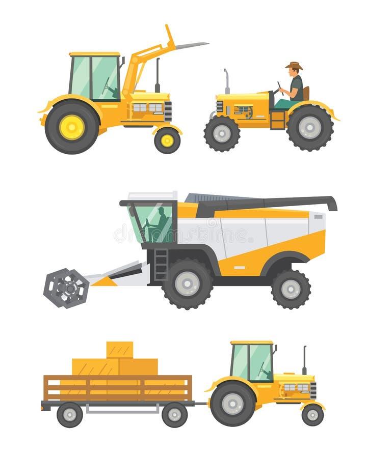 Vektoruppsättning för jordbruks- maskineri och lantgårdmedel Traktorer skördearbetare, sammanslutningillustration i plan design stock illustrationer