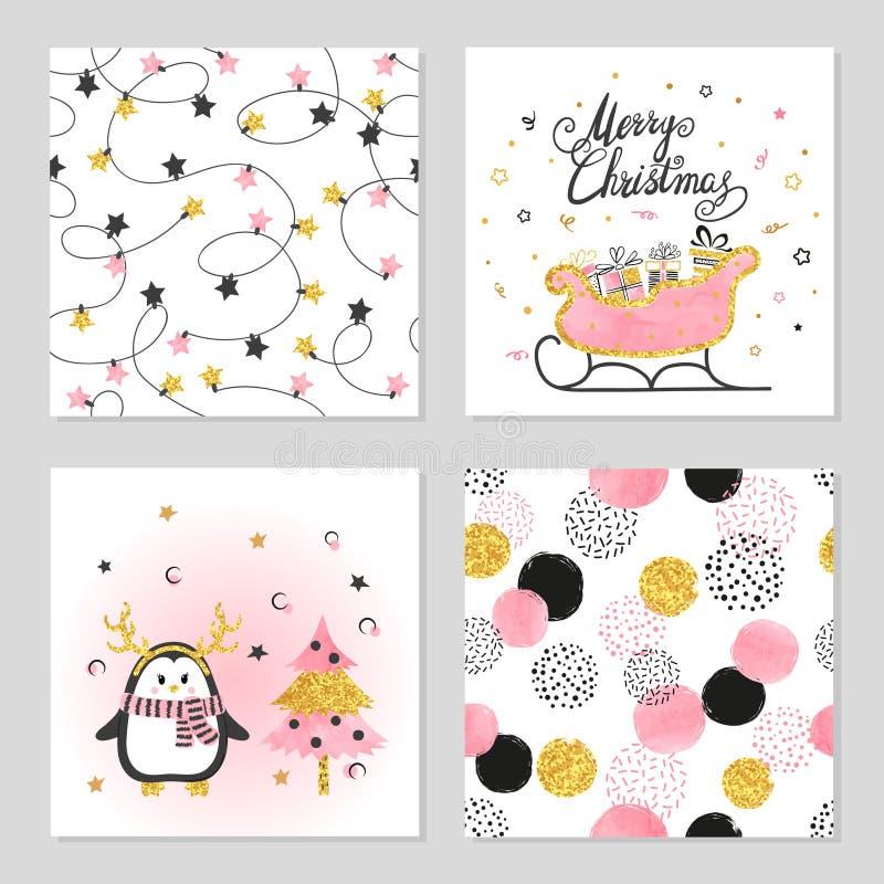 Vektoruppsättning för jul och för nytt år med den gulliga pingvinet, släden och modeller vektor illustrationer