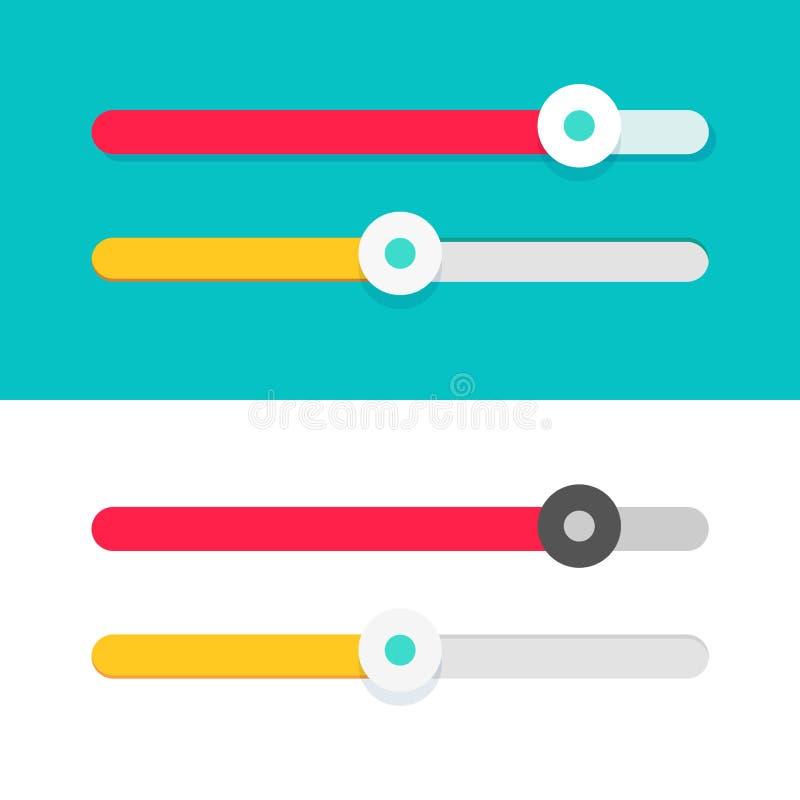 vektoruppsättning för Slider-ui-elementdesign, platta teckningsreglage för webbplatser som är isolerade på färg och vit bakgrund stock illustrationer