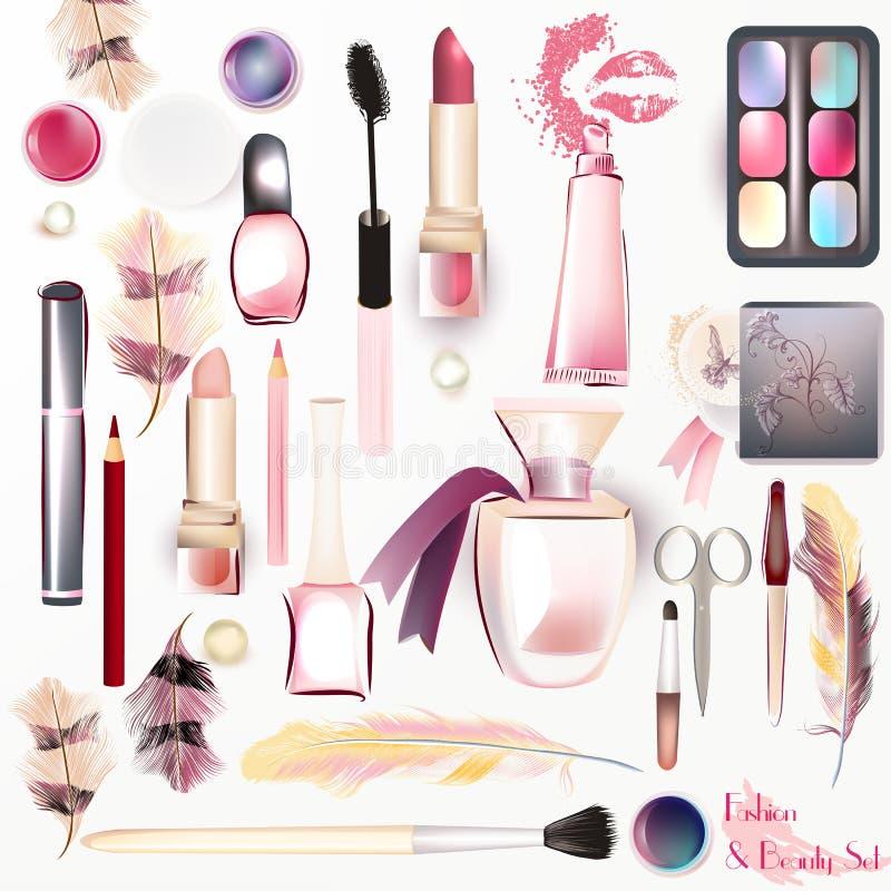 Vektoruppsättning från skönhetsmedel i vattenfärgstil royaltyfri illustrationer