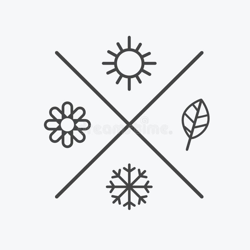 Vektoruppsättning fyra säsongsymboler hösten för sommar för säsongvintervår Plan stil, enkla linjer beståndsdelar Väder royaltyfri illustrationer