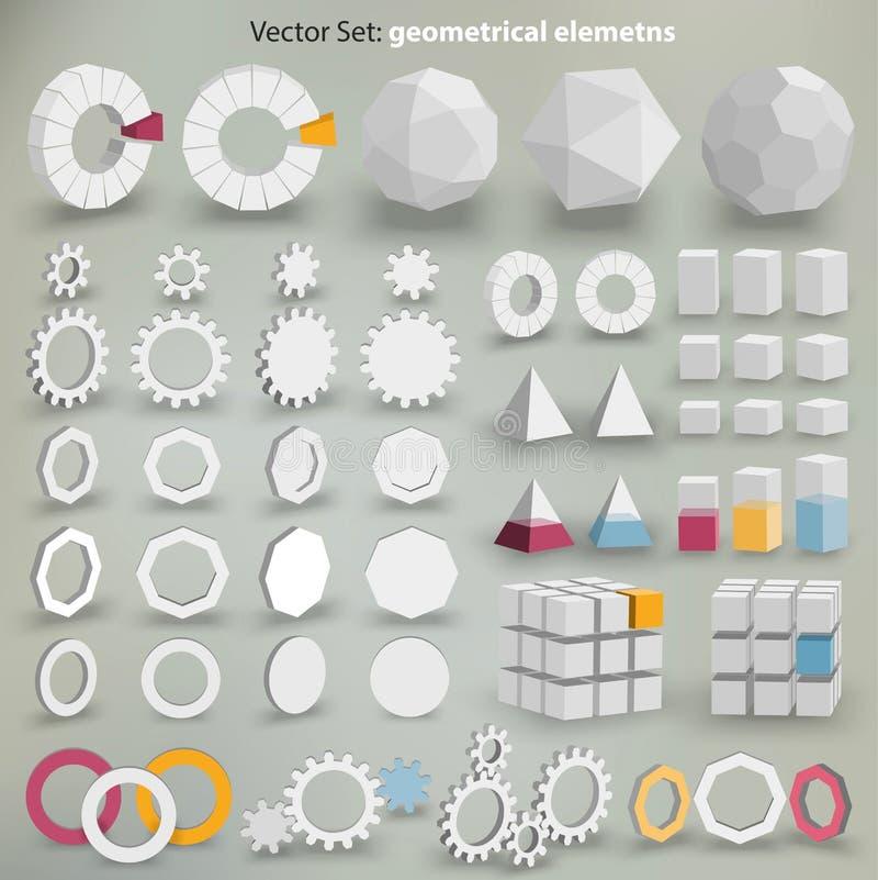 Vektoruppsättning: geometriska beståndsdelar stock illustrationer