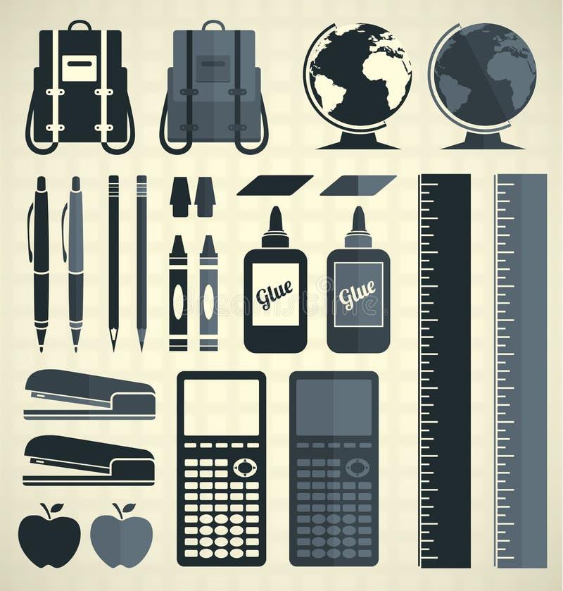 Vektoruppsättning: Konturer och symboler för skolatillförsel vektor illustrationer