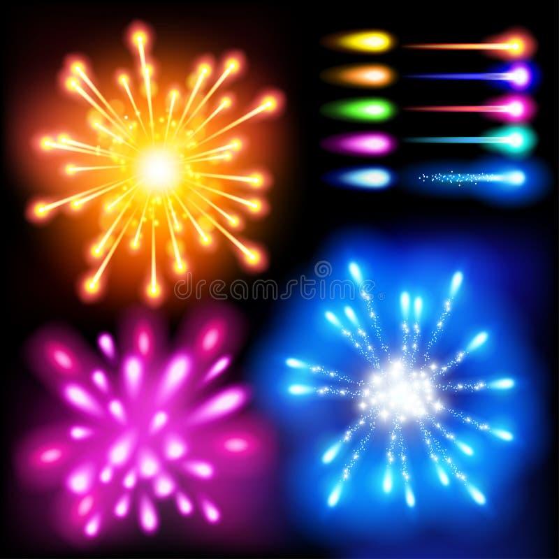 Vektoruppsättning: ljus effekt, fyrverkerier royaltyfri illustrationer