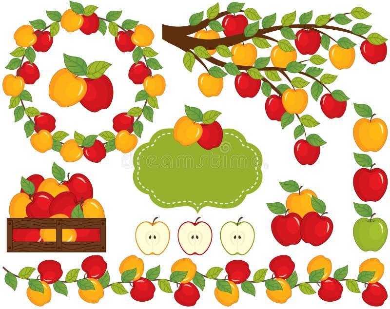 Vektoruppsättning med äpplen, kransen och filialen stock illustrationer