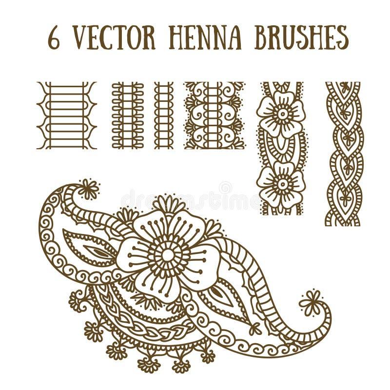 Vektoruppsättning med abstrakta blom- beståndsdelar i indisk stil stock illustrationer