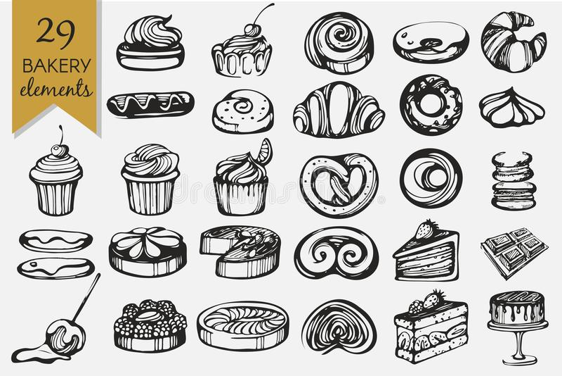 Vektoruppsättning med bageriprodukter arkivbild