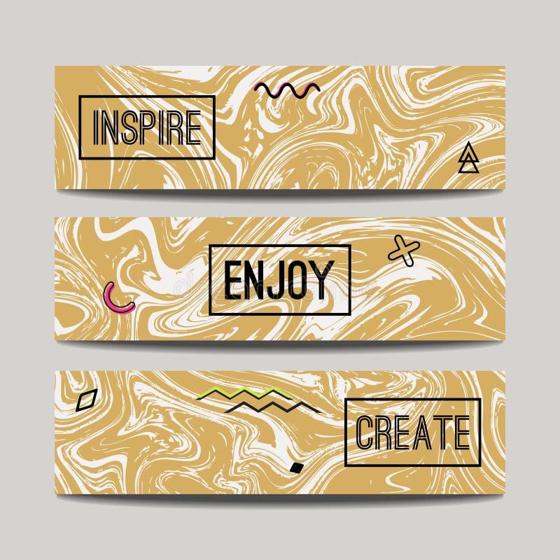 Vektoruppsättning med baner för marmor för färgpulvervattenfärg hand drog guld- stock illustrationer