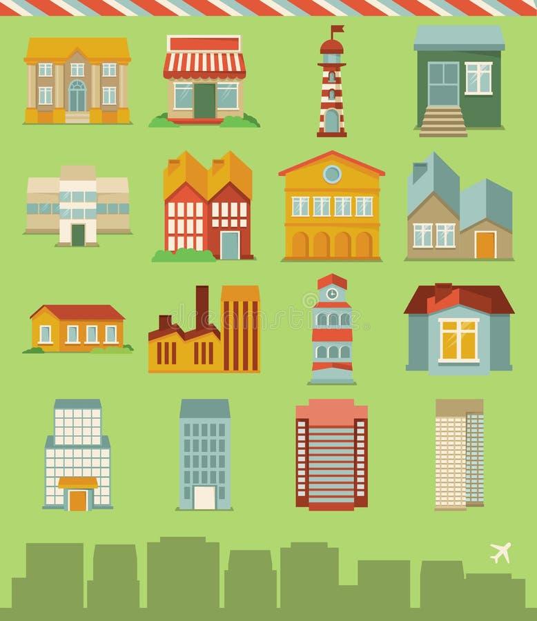 Vektoruppsättning med byggnadssymboler royaltyfri illustrationer