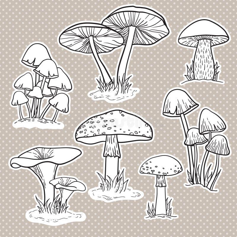 Vektoruppsättning med champinjoner stock illustrationer