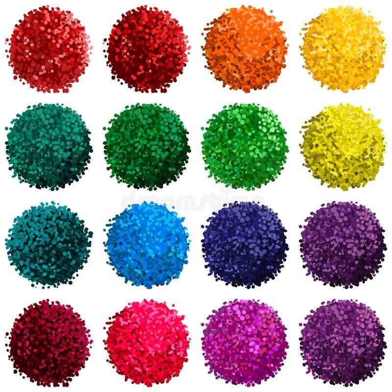 Vektoruppsättning med den färgrika pomponen stock illustrationer