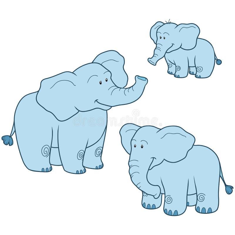 Vektoruppsättning med den gulliga blåa elefantfamiljen stock illustrationer