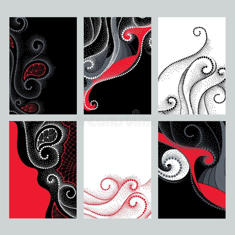 Vektoruppsättning med designillustrationer i dotworkstil Prucken elegans virvlar runt i röda svartvita färger för kort vektor illustrationer