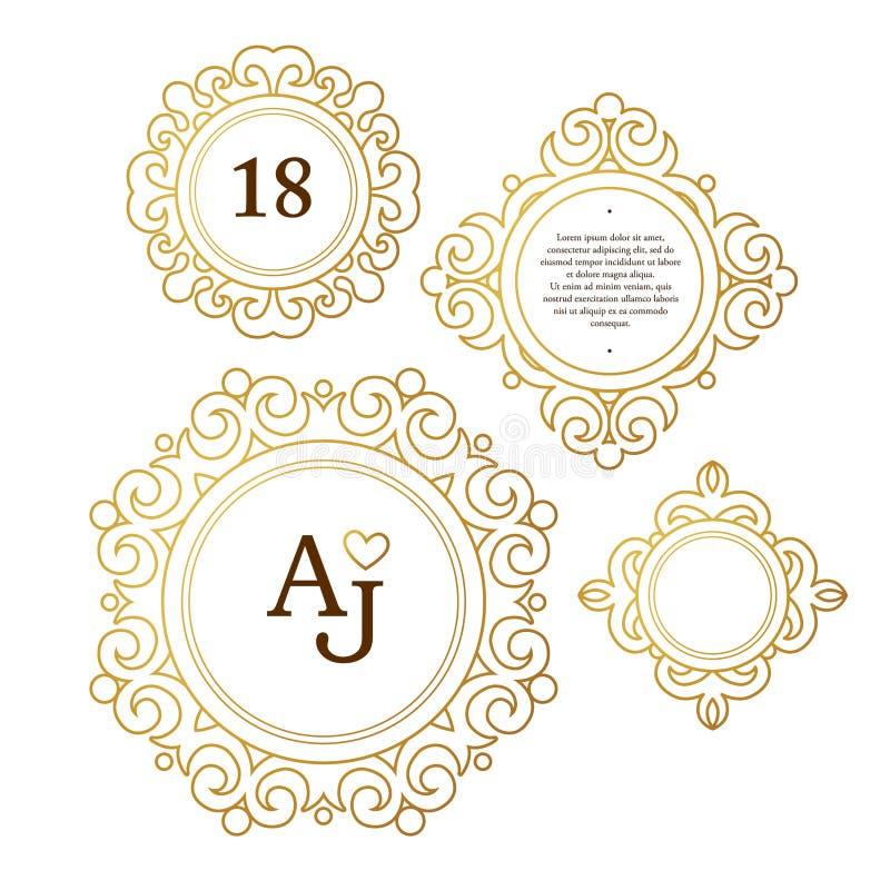 Vektoruppsättning med guld- ramar, karaktärsteckningar i viktoriansk stil stock illustrationer