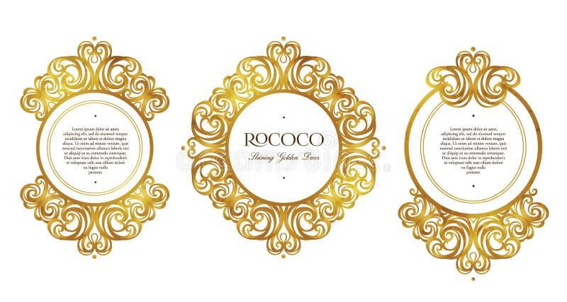 Vektoruppsättning med guld- ramar och karaktärsteckningar i viktoriansk stil vektor illustrationer